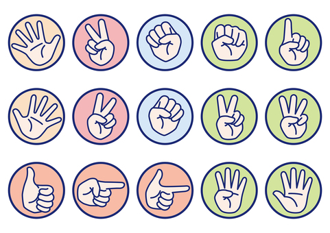 Janken other hand sign set