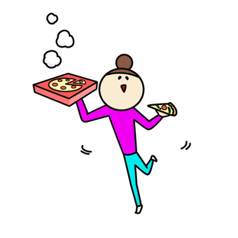 Pizza rejoicing woman