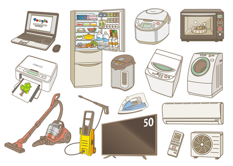 Assortment of household appliances