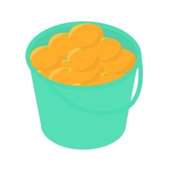 Mandarin orange caught in a bucket