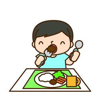 A boy who eats rice