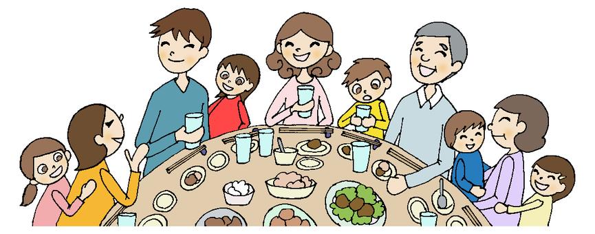 Dinner party 3 (family) line black