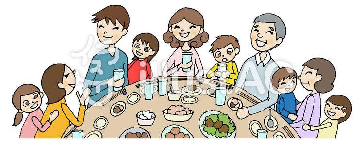 食事会 3家族ライン黒イラスト No 705614無料イラストなら
