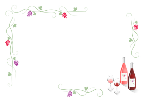 Red grape frame (with red · rose wine)