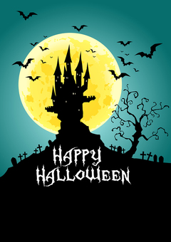 Halloween full moon and castle