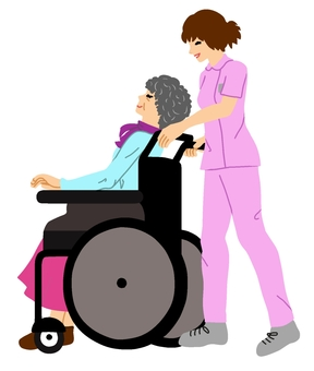 Walking in a nursing wheelchair · No main line