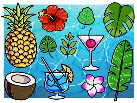 Tropical illustration material set
