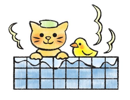 Bathing cat 3 (hand-drawn style)