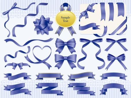 Blue ribbon decoration set
