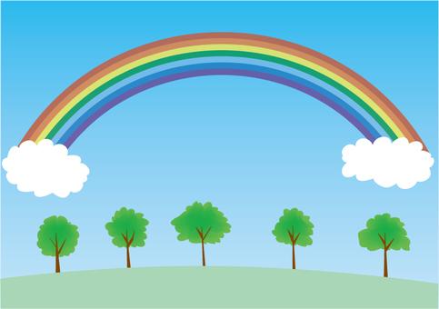 Illustration of rainbow and tree