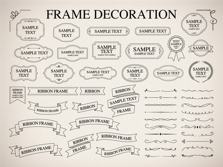 Frame and ribbon and decorative ruling