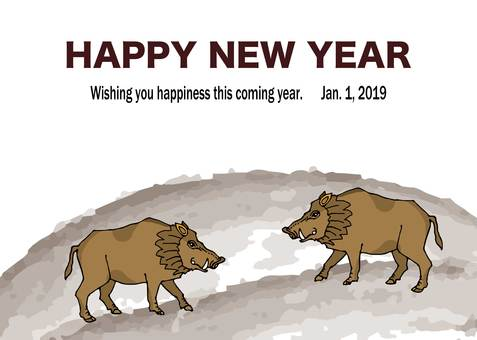Illustration of a boar of a year year New Year's card wild boar