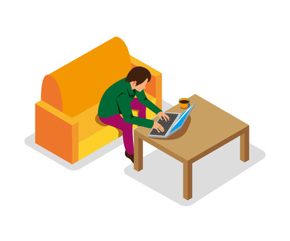 A person who operates a computer while sitting on a sofa