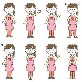 Cute female nursery teacher set / hand drawn / whole body
