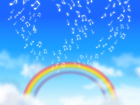 A sky background with notes and a rainbow
