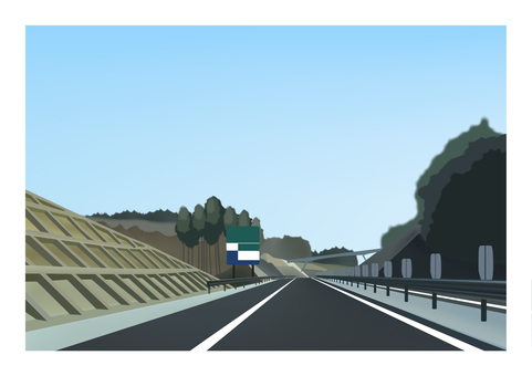 Illustration of a completed two-lane highway