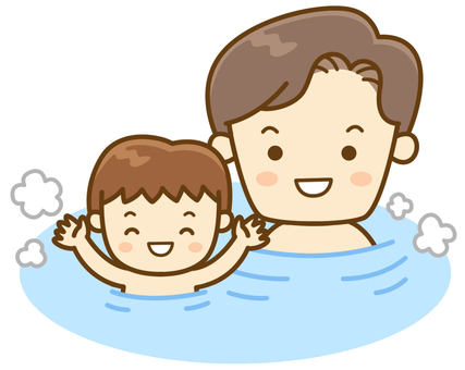 Parent and child in bathing