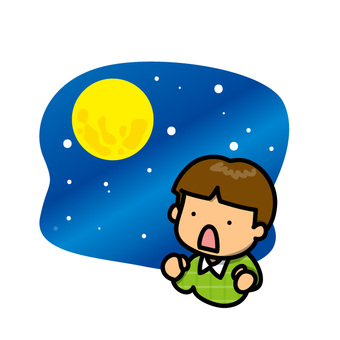A boy looking up at the night sky
