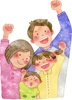 ガッツポーズをする家族 4人