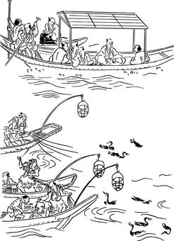 Female fisherman and samurai