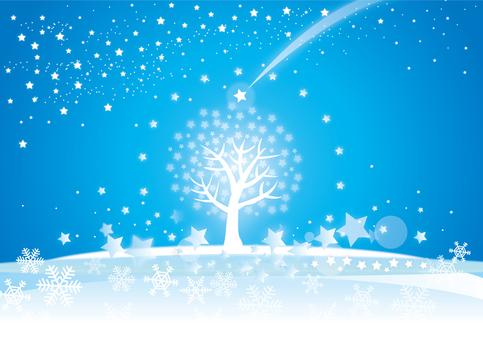 A star shining night tree
