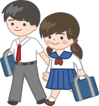 Student couple going to school