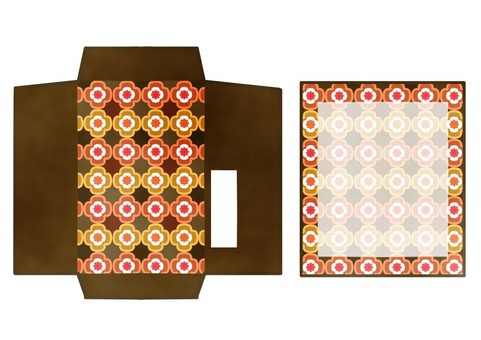 Pochi bag retro pattern tea