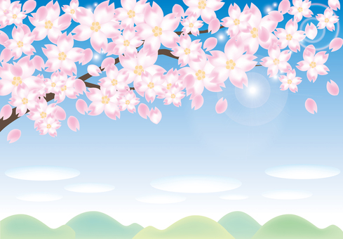Cherry tree and natural landscape