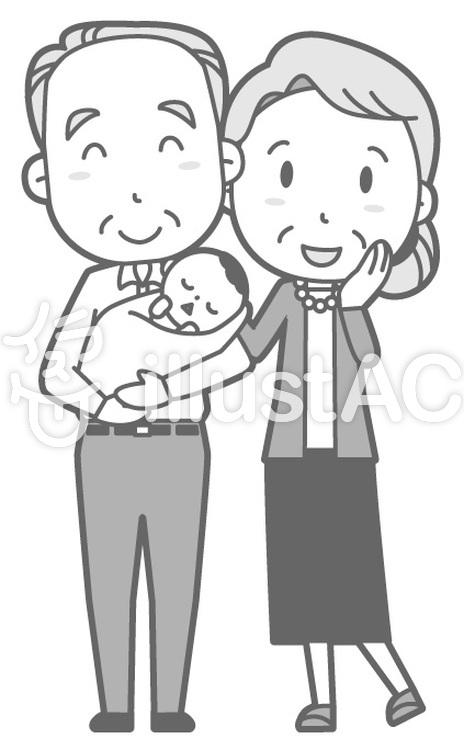 老人夫婦-新生児-全身白黒のイラスト