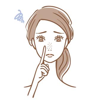 Woman pore dirt strawberry nose