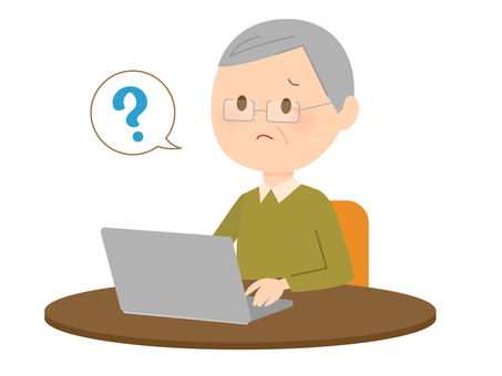 Grandpa 3 using a laptop