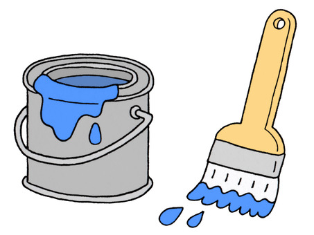 Paint (blue) and brush