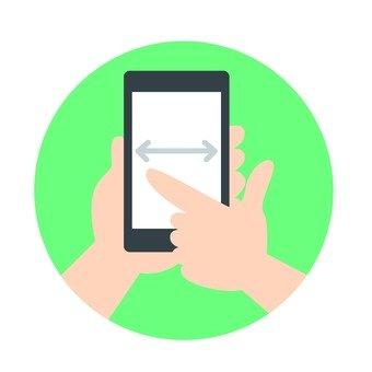 Hand - pinch operation of smartphone (portrait screen)