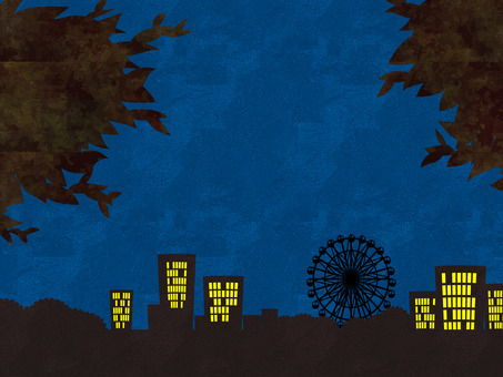 夜の観覧車の風景