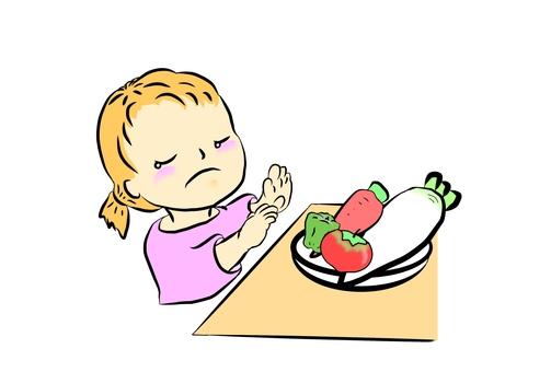 아이의 야채를 싫어하는 이미지