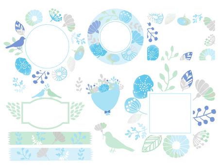 Hand drawn floral frame set 3