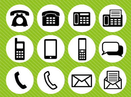 Telephone · Mail · Message icon 3