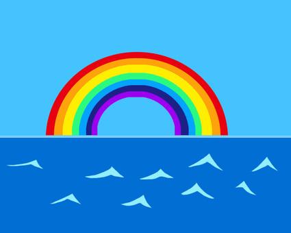 Rainbow and the sea