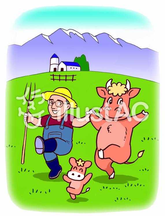 仲良しの牧場主と牛イラスト No 1369363無料イラストならイラストac