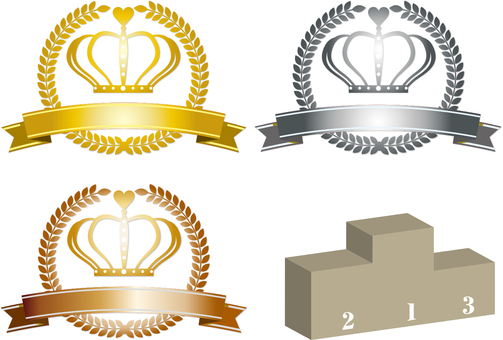 Crown three colors and podium