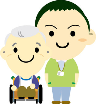 A wheelchair grandpa and a caregiver male