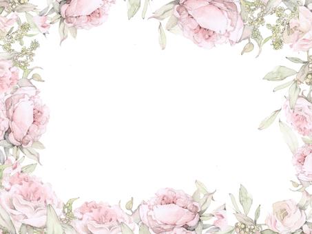 English Rose flower frame - frame