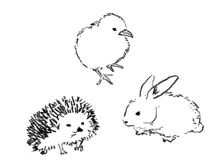 Hedgehog, rabbit, chick