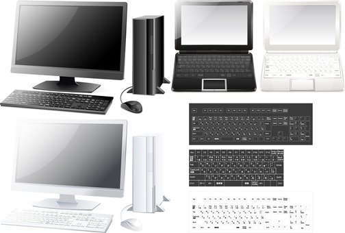 Desktop notebook type personal computer set