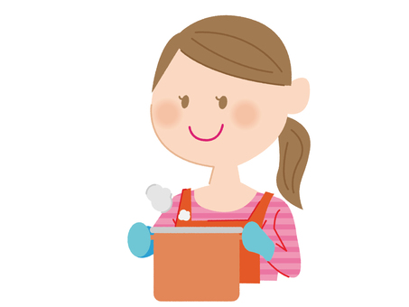 A woman holding a pot