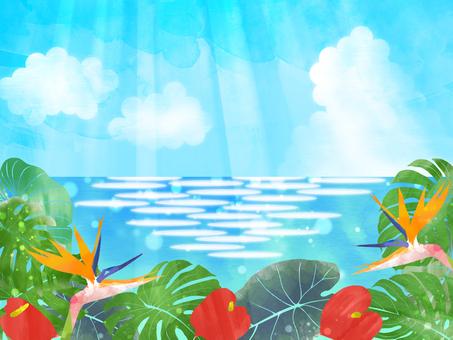 熱帯植物と海(横)
