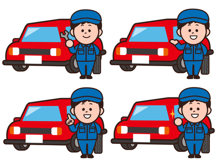 Illustration set of a car mechanic