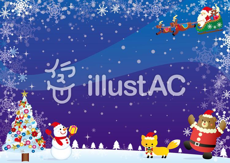 クリスマスの夜の風景カードイラスト No 635745無料イラストなら
