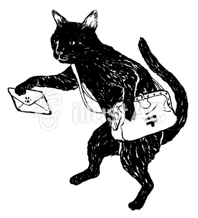 黒猫 モノクロイラスト No 無料イラストなら イラストac
