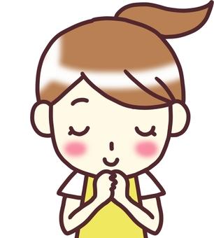 【Female apron yellow】 Below _ pray